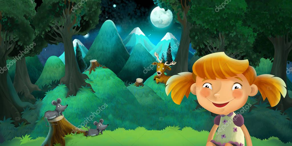cartoon scene with girl resting in the beautiful forest - romantic night - illustration for children