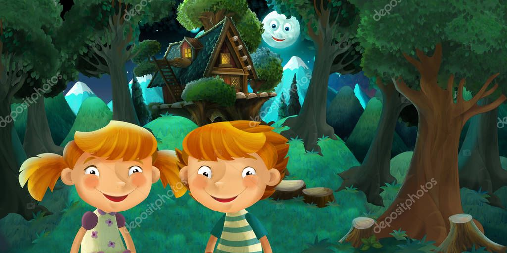 cartoon scene with boy and girl - brother and sister - resting in the forest near cute wooden house - illustration for children
