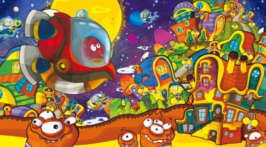 cartoon scenes with some funny looking aliens in the city and flying ufo ships - white background - illustration for children