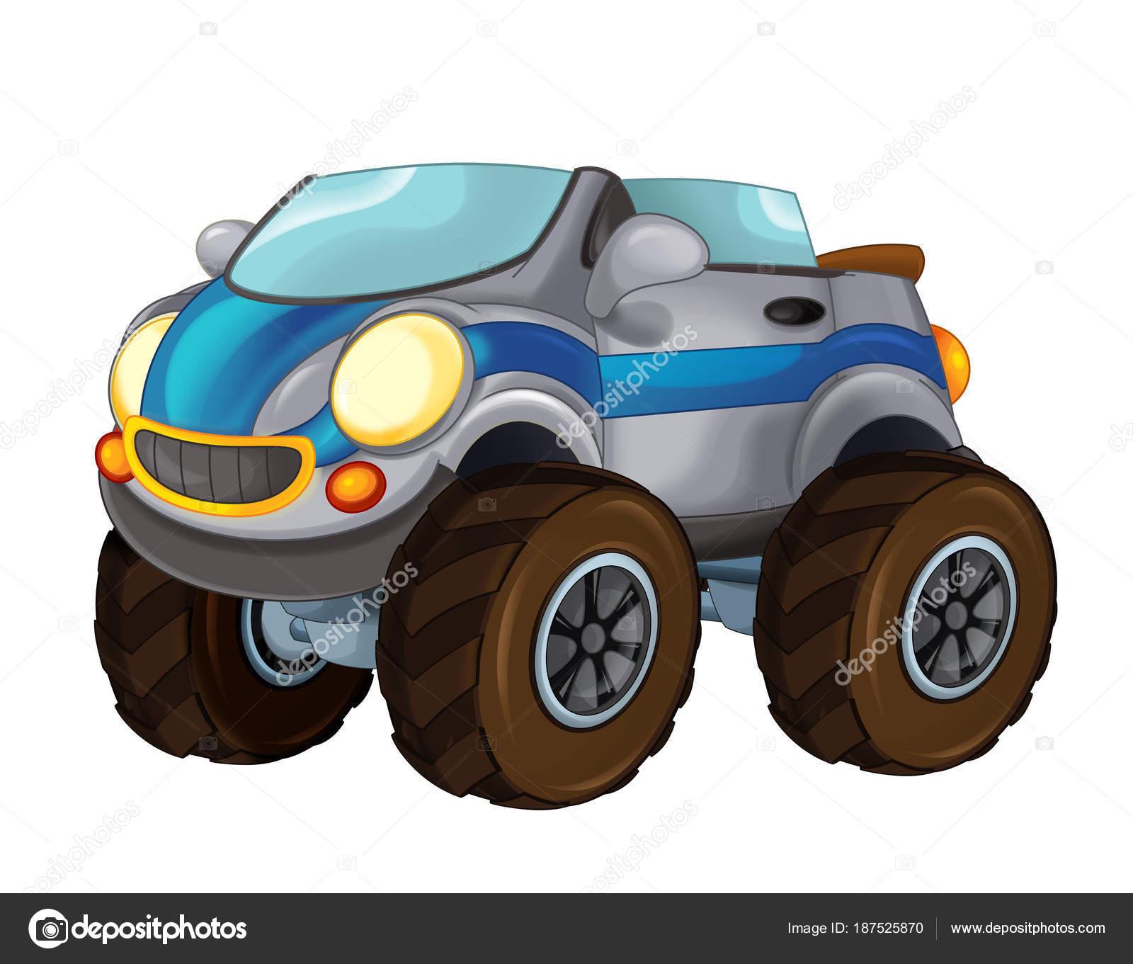 Dessin Animé Rapide Hors Route Voiture Ressemblant Monster Truck