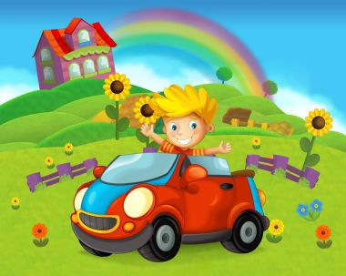 cartoon scene with child - boy - in toy car on on the farm - illustration for children