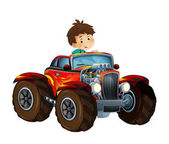 Photo cartoon scene with child - boy in cool looking hod rod car on white background - illustration for children