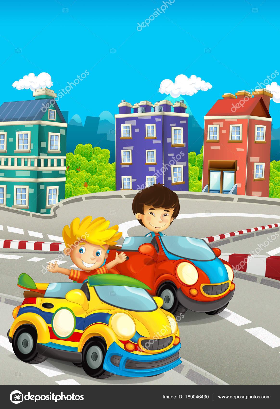 Cartone animato divertente felice illustrazione bambini ragazzi