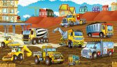 Photo cartoon scene with different construction site vehicles - illustration for children