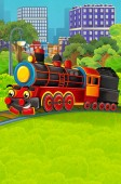 Fotografie Cartoon funny looking steam train going through the city - illustration for children