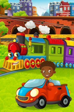 Cartoon funny looking steam train going through the city and kid driving in toy car in front of it - illustration for children