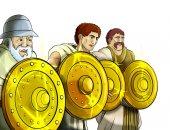kreslený scény roman nebo řecké starobylým písmem na bílém pozadí - ilustrace pro děti