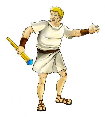 cartoon scene with ancient warrior with spyglass standing and talking - on white background - illustration for children