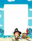 Fotografia Acqua / onda telaio con combattimento pirata - illustrazione per bambini