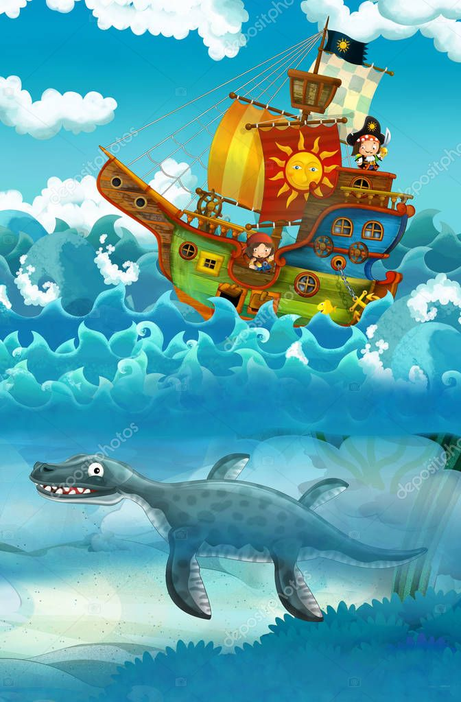 pirates on the sea - battle - with monster underwater - illustration for children