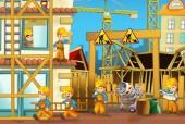 Kreslená scéna s muži pracně ve výrobních pracích-ilustrace pro děti