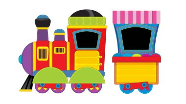 Cartoon funny looking steam train on white background - illustration for children stock vector
