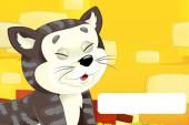 Fotografie Zeichentrickszene mit Katze beim Spaß auf dem Bauernhof mit Textrahmen - Illustration für Kinder