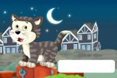 Zeichentrickszene mit Katze beim Spaß auf dem Bauernhof mit Textrahmen - Illustration für Kinder