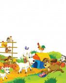 Cartoon farm scene with animal goat having fun on white background - illustration for children