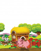 cartoon scene with pig and cow on a farm having fun on white background - illustration for children