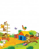 cartoon scene with different animals on a farm having fun on white background - illustration for children