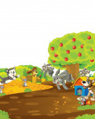 cartoon scene with rabbit on a farm having fun on white background - illustration for children