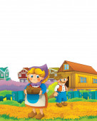 Cartoon farm scene with farmer and farmer woman having fun on white background with space for text - illustration for children