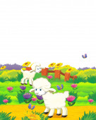 cartoon scene with sheep having fun on the farm on white background - illustration for children