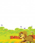 cartoon scene with dog having fun on the farm on white background - illustration for children