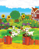 Cartoon farm scene with animal goat having fun on the farm ranch - illustration for children