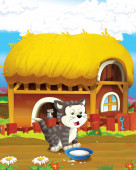 cartoon scene with cheerful cat having fun on the farm - illustration for children