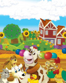cartoon scene with cow having fun on the farm on white background - illustration for children