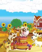 rajzfilm jelenet tehén szórakozás a gazdaságban fehér háttér - illusztráció gyerekeknek