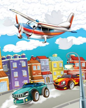 cartoon scene with super car racing and observing plane is flying over - illustration for children
