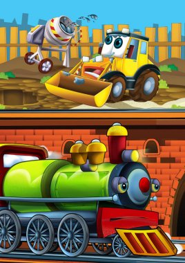 Cartoon funny looking train on the train station near the city and excavator digger car driving - illustration for children