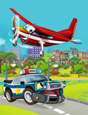 cartoon scene with police car vehicle on the road and fireman plane flying - illustration for children