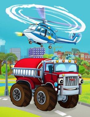 cartoon scene with fireman vehicle on the road - illustration fo