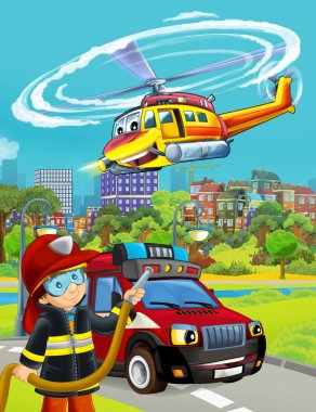cartoon scene with fireman vehicle on the road - illustration fo