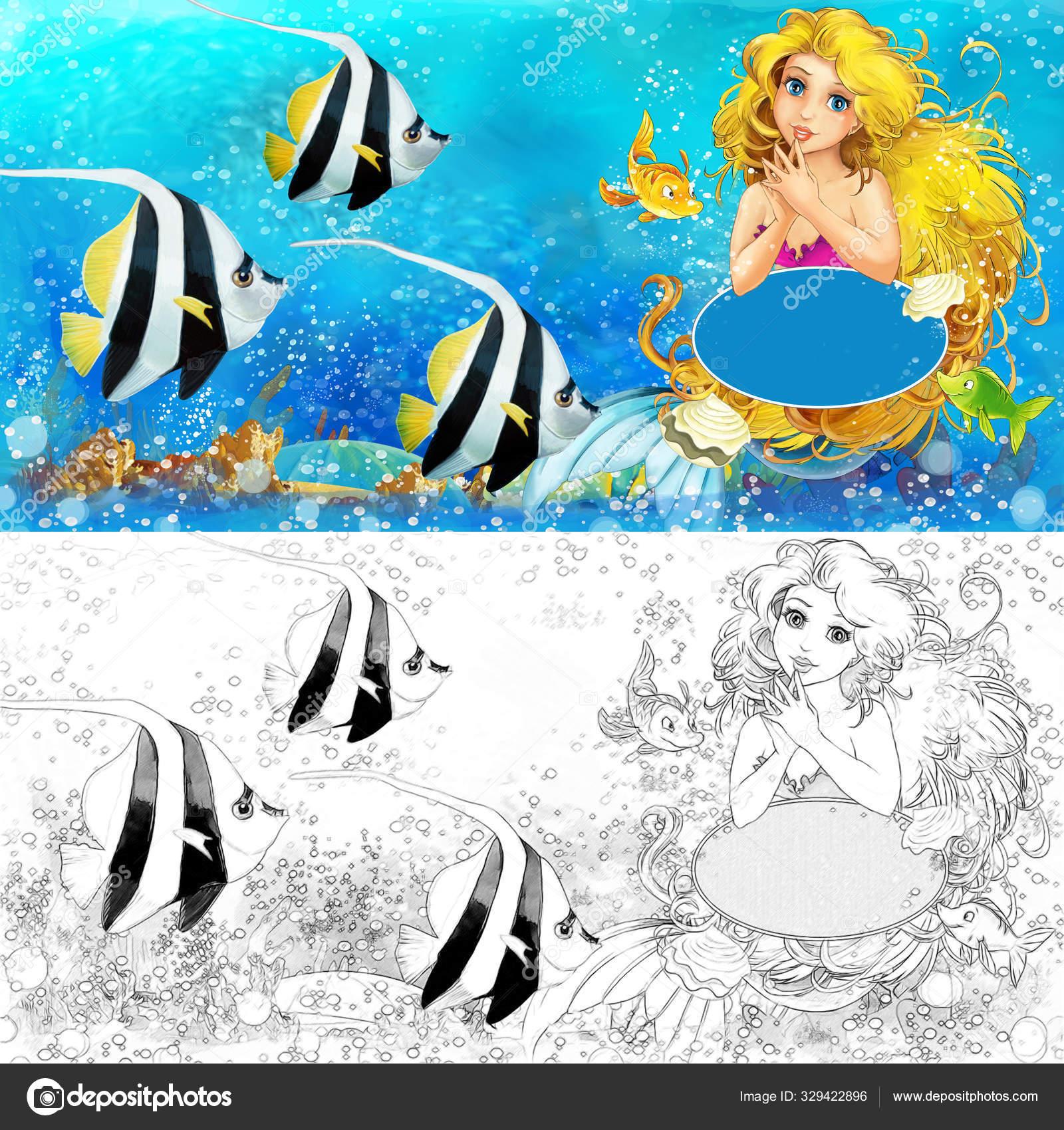 depositphotos stock photo cartoon scene with mermaid princess