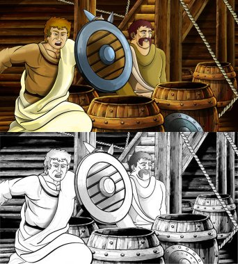 cartoon scene with roman or greek ancient character inside woode