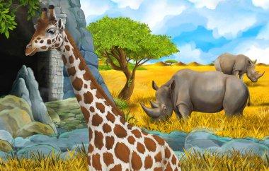 cartoon wildlife safari scene with lion and giraffe illustration
