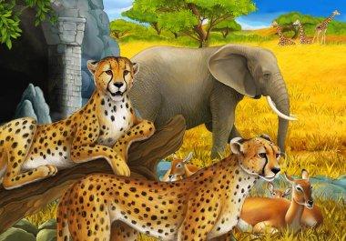 cartoon scene with safari animals cheetah antelopes and elephants on the meadow illustration for children