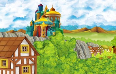 cartoon scene with kingdom castle and mountains valley and bear standing illustration for children