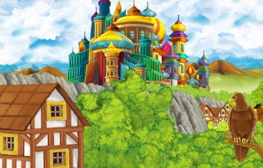 cartoon scene with kingdom castle and mountains valley and bear standing and eagle sitting illustration for children