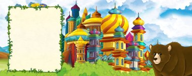 Cartoon nature scene with beautiful castle near the forest with bear - illustration