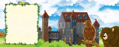 Cartoon nature scene with beautiful castle near the forest with bear and the eagle - illustration for children