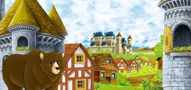 cartoon scene with kingdom castle and mountains valley near the forest and farm village settlement with bear walking by illustration for children