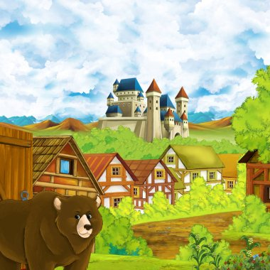 cartoon scene with kingdom castle and mountains valley near the forest and farm village settlement with bear walking by and eagle bird illustration for children