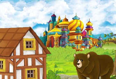 Cartoon nature scene with beautiful castle near the forest with bear illustration for children