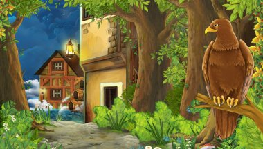 cartoon nature scene with medieval city street with eagle bird - illustration for children