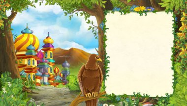 Cartoon nature scene with bird eagle with beautiful castle with