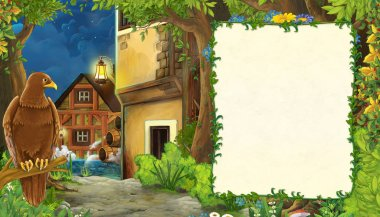 Cartoon nature scene with medieval city street - illustration fo