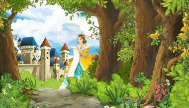 Cartoon nature scene with beautiful girl princess and castle - i
