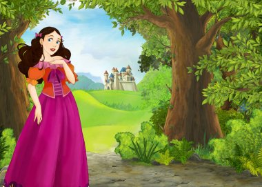 Cartoon nature scene with beautiful castle - illustration for th